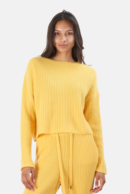 The Tile Club Chase Crop Sweater - Yellow