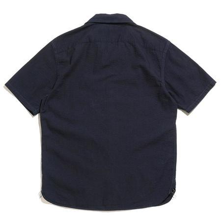 RRL Indigo Seersucker Camp Shirt - Dark Indigo