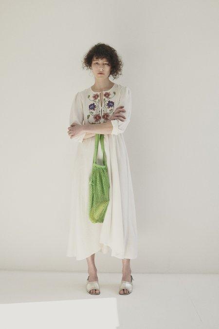 Caramel | Cross Stitch Dress - White