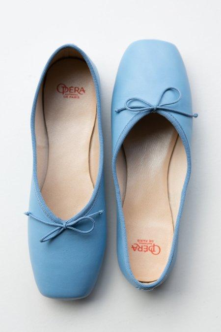 Vintage Square Ballet Pump - Sky Blue