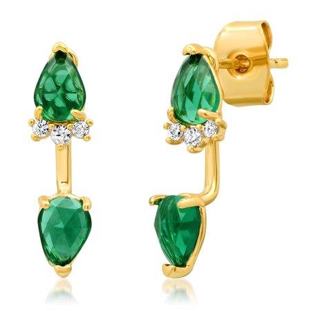 Tai Emerald Drop Studs - Gold