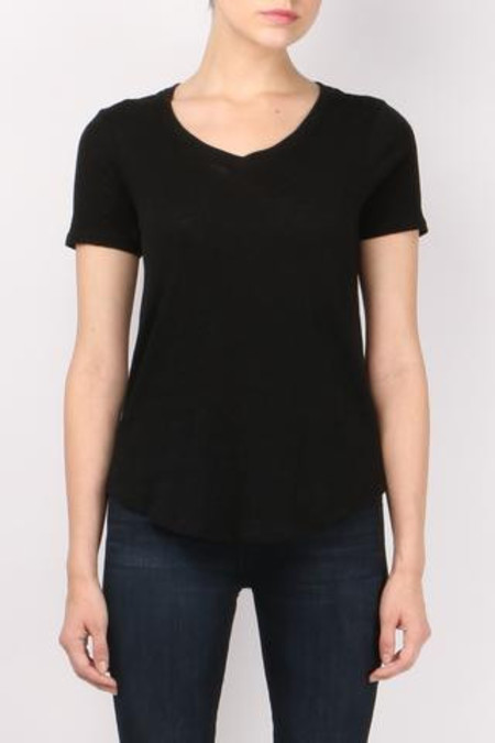 ATM Short Sleeve V-Neck Tee in Black