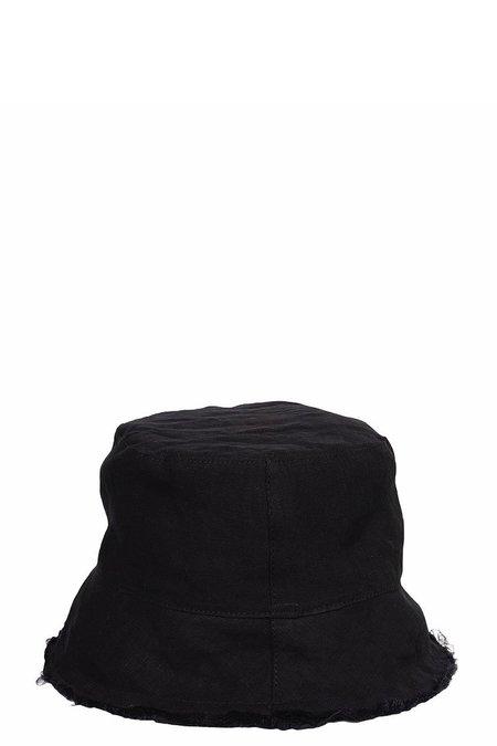 Isabel Benenato Linen Bucket Hat - Black