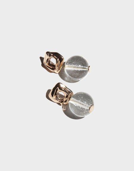 Modern Weaving Petite Layered Loop Earrings - Bronze/Transparent Italian Blown Glass