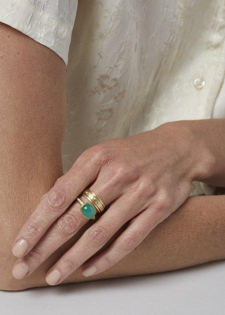 Tony Malmed Jewelry Emerald Cabochon and Diamond - 18kt Gold