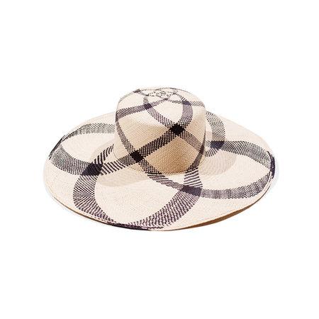 Clyde Medium Brim Flat Top Hat - Plaid Panama