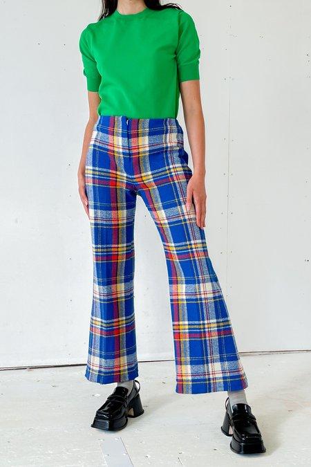 Vintage Flared Trousers - blue plaid