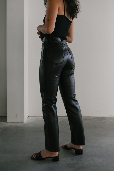 Agolde Recycled Leather 90's Pinch Waist PANTS - Black