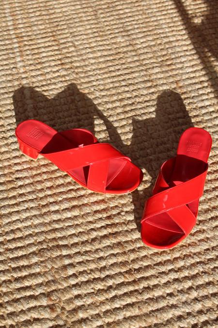 Maryam Nassir Zadeh MNZ Lauren Slide Red Patent Leather