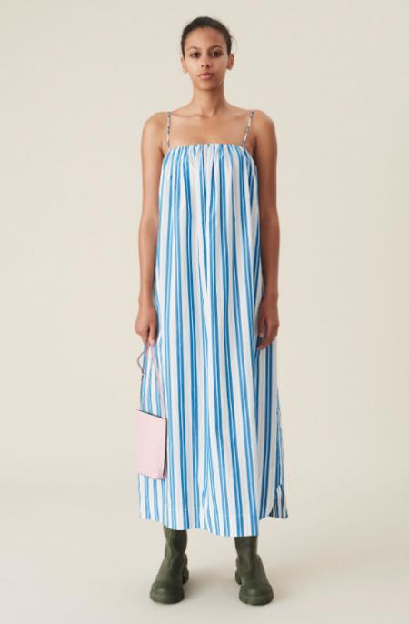 Ganni Tent Midi Dress - Blue/White