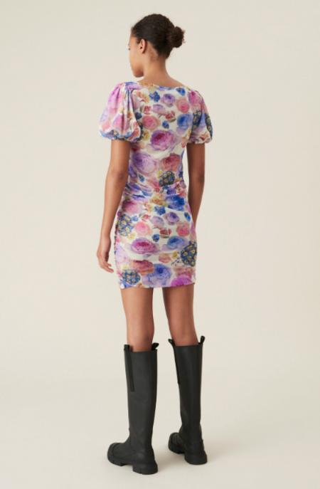 Ganni Printed Mesh Mini Dress - Multi Floral