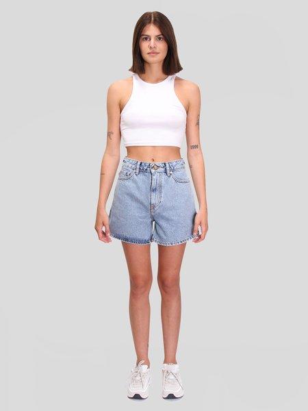 Ganni Classic Denim High-Waisted Shorts - Washed Indigo