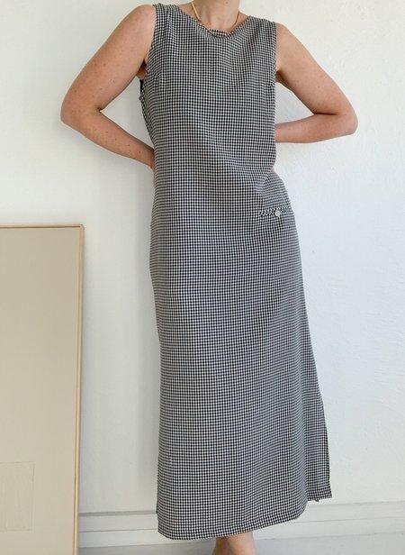 Vintage Gingham Minimalist Dress - Black/White