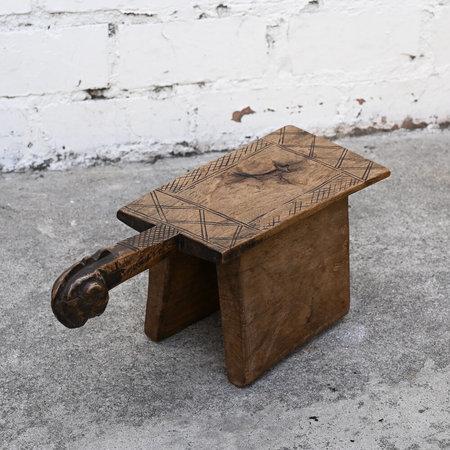 VINTAGE Made Solid Carved Senufo Stool - Brown