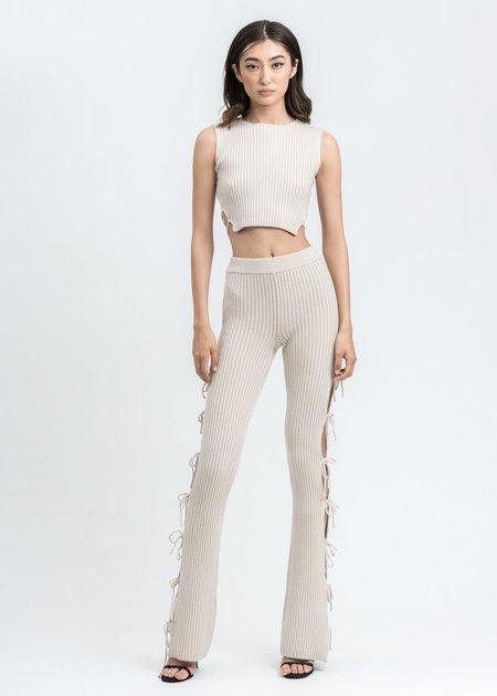 Danielle Guizio Rib Knit Tie Pant - cream