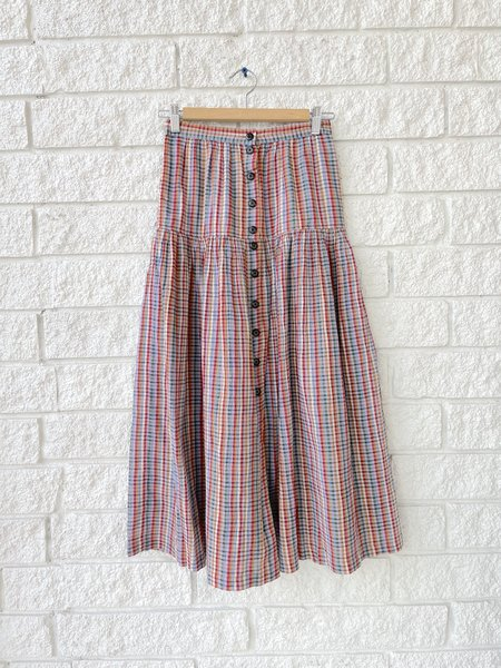 The Great. THE BOATING SKIRT - MIDSUMMER PLAID