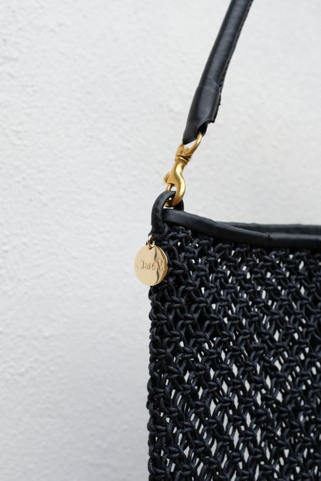 Clare V. Foldover Clutch with Shoulder Strap - Crochet Black