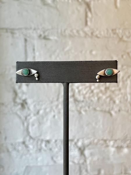 Jane Diaz Crying Eye Stud - Sterling Silver/Emerald