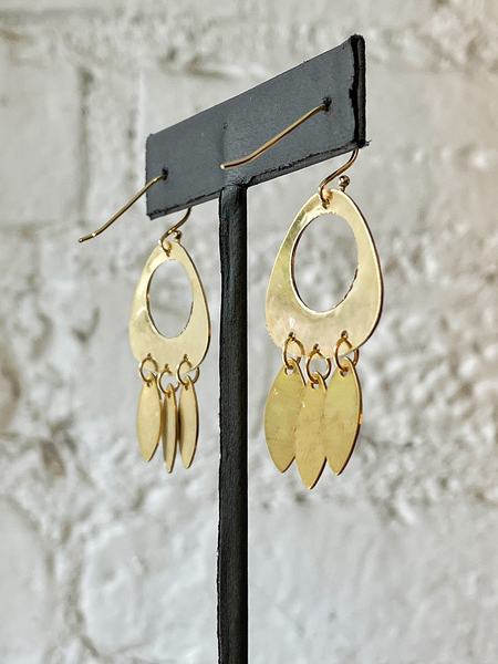 A.V. Max Hammered Chandelier Earrings - 14K Gold-Plated Brass
