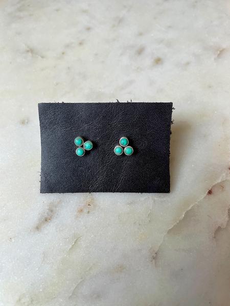 Jane Diaz Three Stone Stud - Turquoise/sterling silver