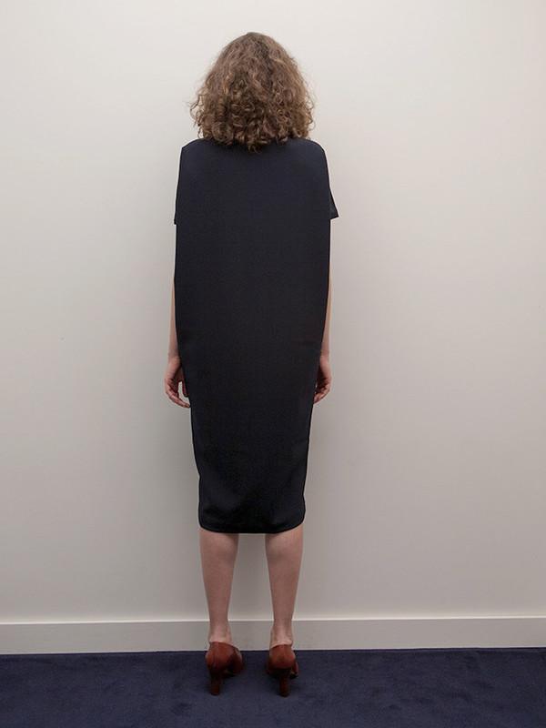 KAAREM Triangle Midi Dolman Open Back Dress, Blue/Black
