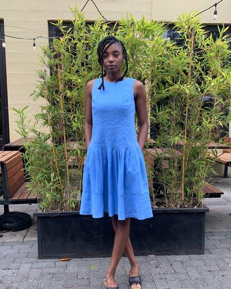 Vintage Linen Dress - Blue