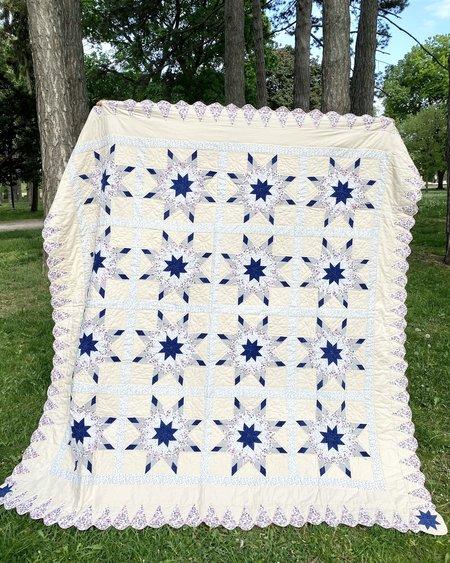 Vintage All Over 8 Point Star Patchwork Quilt - cream/navy