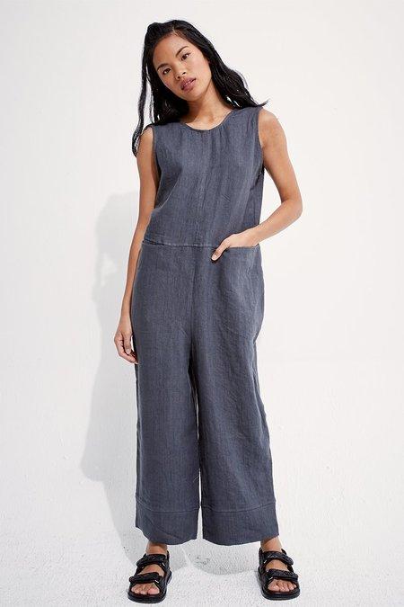 back beat rags Linen Reversible Brooklyn Jumpsuit - Cement