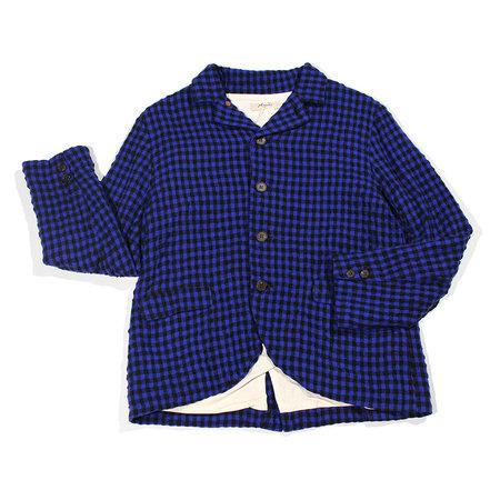 ICHI ANTIQUITES Cotton Wool Gingham Jacket - Royal Blue/Black