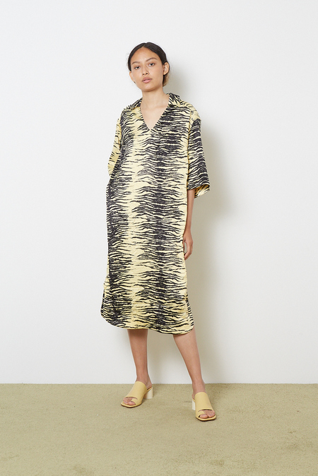 Ganni Crinkled Satin Dress - Pale Banana Zebra Print