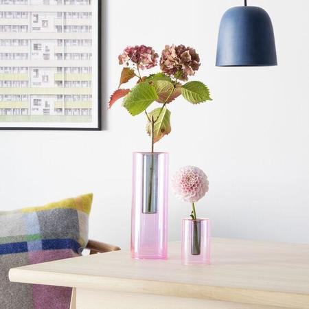 Block Design Reversible Glass Vase - Grey/Orange