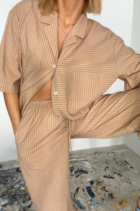 Soft Focus The Lounge Short Sleeve Top - Tan Stripe