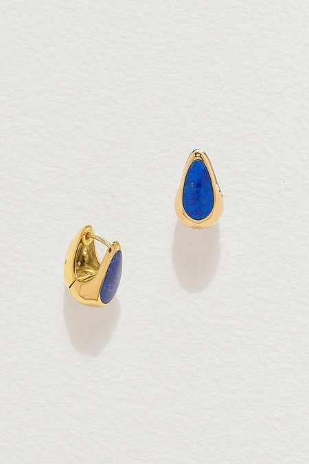 Pamela Love Inlay Hammered Hoops - Lapis/Gold