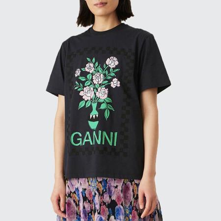Ganni Dark Flowers Cotton Tee - Phantom