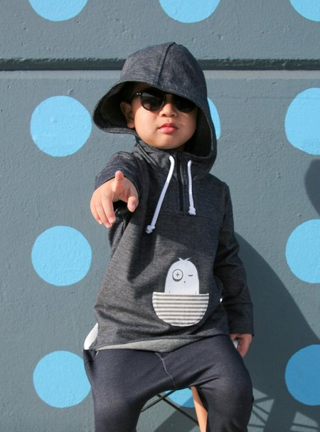 Kids Bash + Sass Denim Pullover Hoodie - Blue
