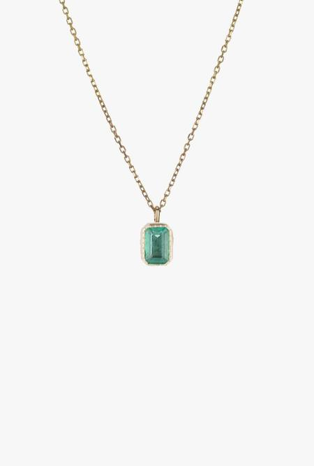 Jennie Kwon Designs Emerald Cut Emerald Wisp Necklace