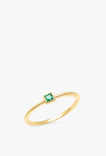 Eriness Emerald Princess Cut Pinky Ring - 14kYG