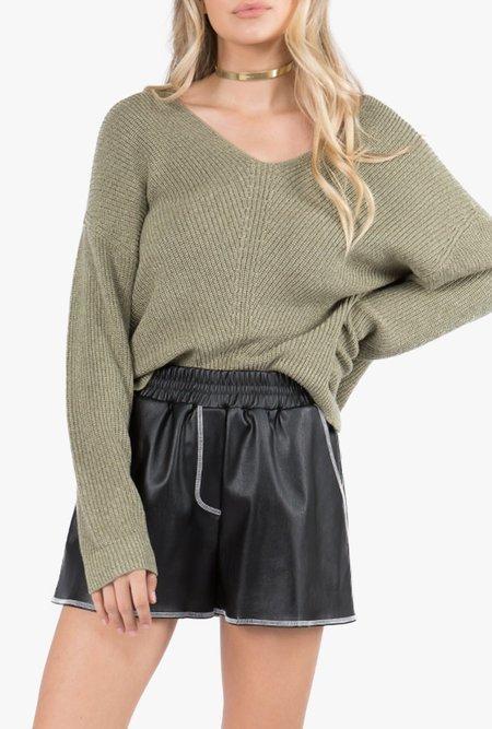 Azalea Azalea Gabby Slouchy V-Neck Sweater - Olive