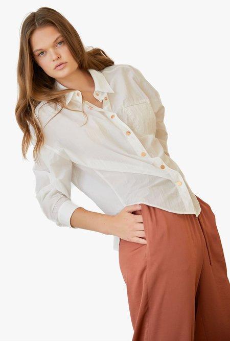 Maison De Ines High-Low Hem Cotton Button Up Shirt - WHITE