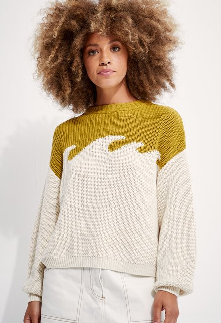 Back  Organic Cotton Wave Sweater - Chartreuse/Natural
