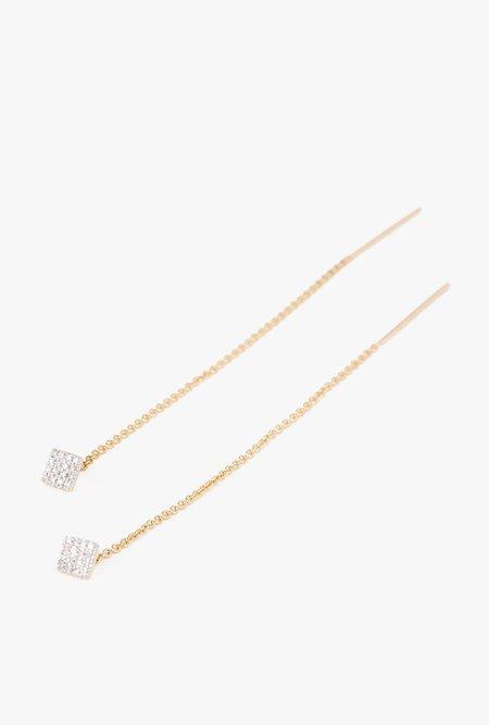 Eriness Pave Diamond Square Threader Earrings - 14k