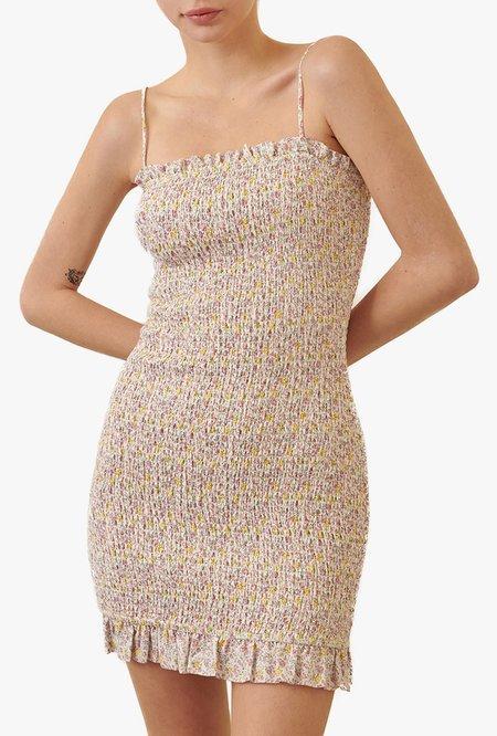 Azalea  Riley Floral Smocked Mini Dress - White Multi