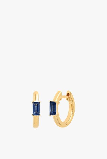 Eriness Stationary Blue Sapphire Baguette Huggie - 14kYG