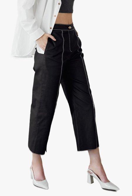 Maison De Ines Stitch Point Coated Pants - black