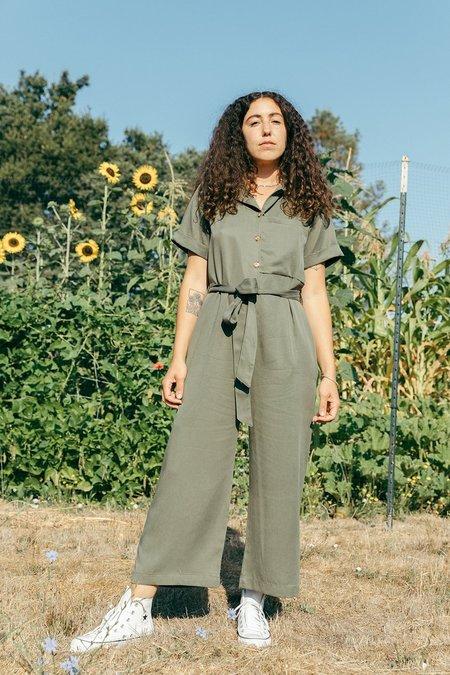 Back Beat Co. Tencel Pajama Jumpsuit - Army