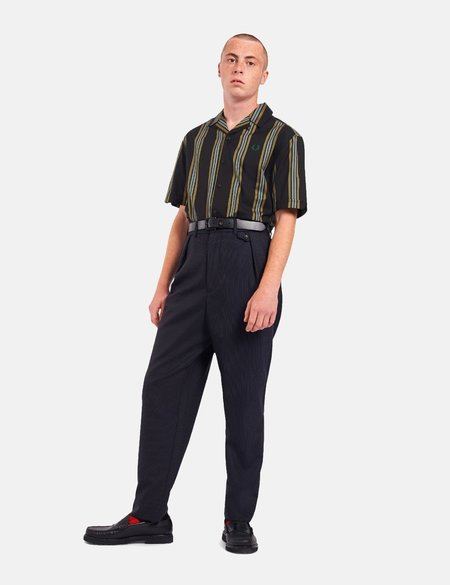Fred Perry Stripe Revere Collar Shirt - Black
