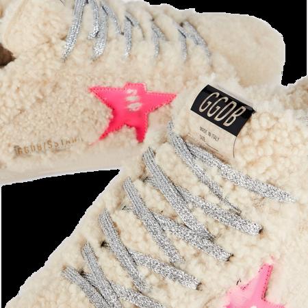 Golden Goose Super-Star Shearling Upper Sneaker - Beige/Fluo Fuxia