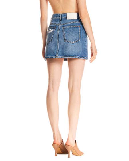 MSGM Blue Denim Mini Skirt