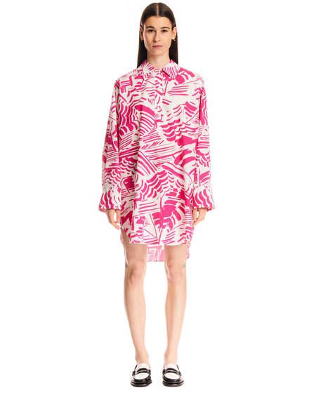 MSGM Summer Brushed Pattern Dress - White/Fuchsia