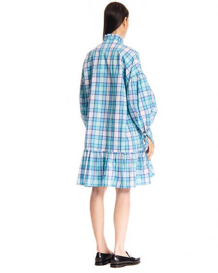 MSGM High Neck Check Dress - Blue/White